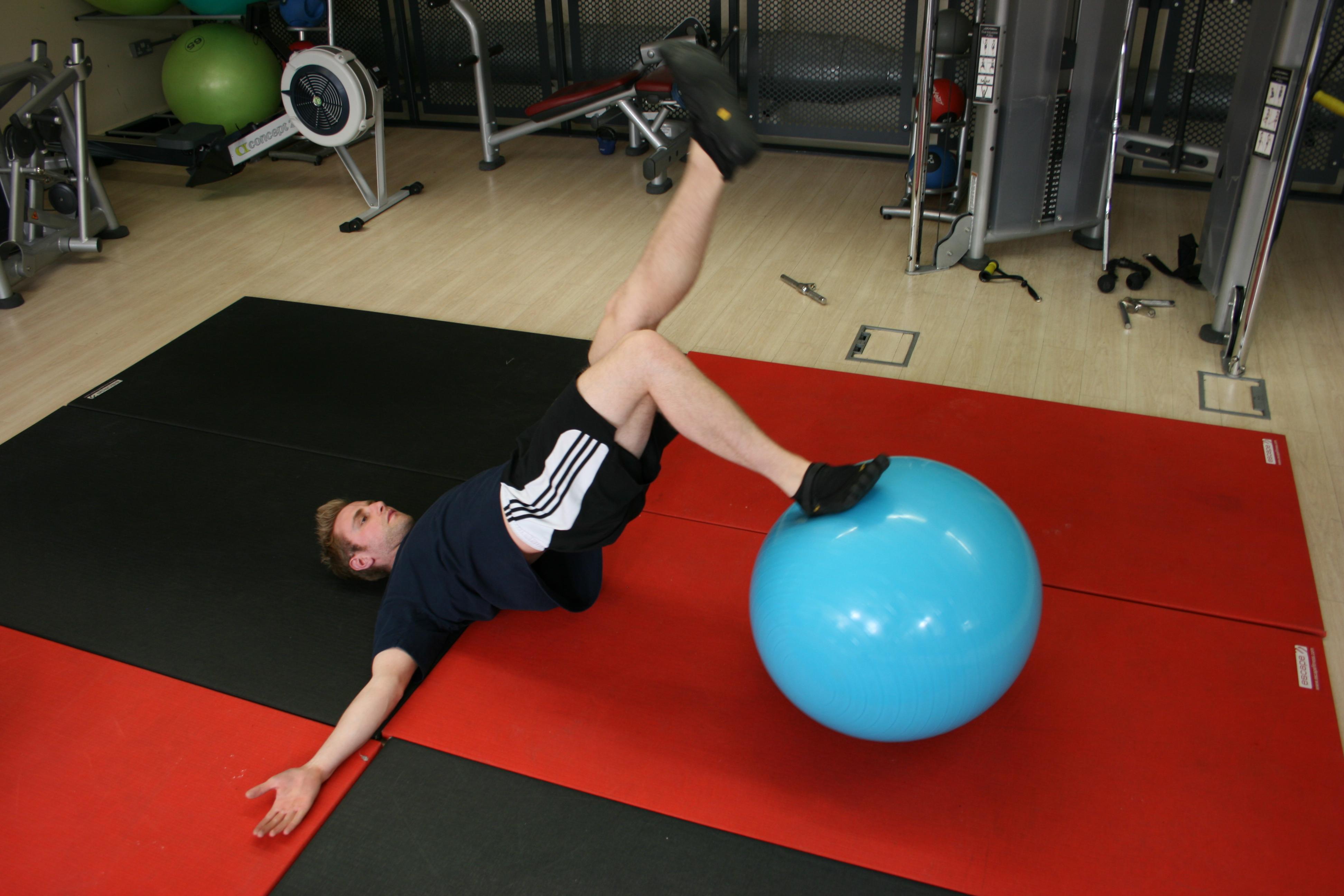 Single Leg Swiss Ball Hamstring Curls, Uni-lateral exercise, Uni-Lateral Training